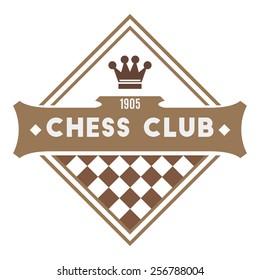 Chess club logo. Retro style