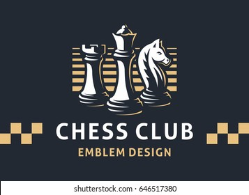 Chess club logo - vector illustration, emblem design on a dark background