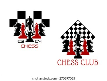 Chess club sport emblems or symbols with chessmen ant turned chess board