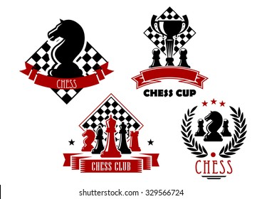 Chess club and tournament cup icons with king, queen, bishop, knight, rook and pawn pieces, trophy cup and chessboards, framed by laurel wreath, ribbon banners and stars