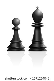 Chess concept design. Black pawn and black bishop isolated on white background. Chess piece elephant or bishop and pawn. Realistic vector illustration