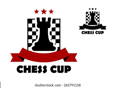 Chess cup logo or emblem template including black rook on chess board decorated red stars and ribbon banner with copy space
