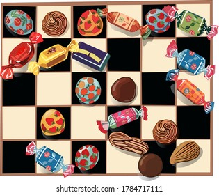 The chess of different candies. Vector illustration on a white background