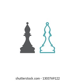 Chess figure of the bishop. Set of two vector icons. Flat design