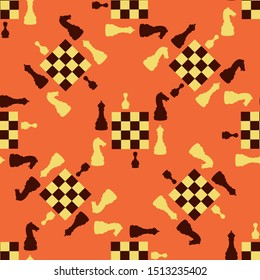 Chess figures with a chessboard on a colored background. Pattern.