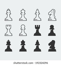 Chess figures vector icons set