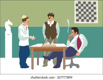 Chess game, chess club. Vector