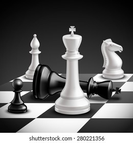 Chess game concept with realistic board and black and white pieces vector illustration