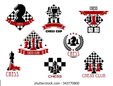 Chess game or sport club emblems and icons with chessboard, king, queen, rook, bishops knight and pawns pieces, clock and trophy. Decorated by heraldic wreath, ribbon banners and stars