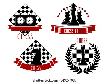 Chess game sport emblems and icons with chessboard, clock, king, queen, knight and pawn, decorated by laurel wreath and ribbon banners