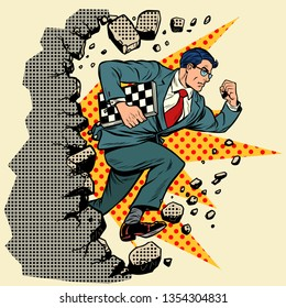 chess grandmaster breaks a wall, destroys stereotypes. Moving forward, personal development. Pop art retro vector illustration vintage kitsch