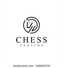 Chess Horse Logo Line Design. Chess Knight Horse linear logo Design Vector illustration.