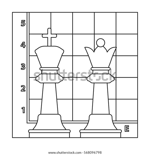 Chess icon in outline style isolated on white background. Board games symbol stock vector illustration.