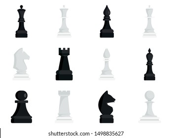 Chess icon set. Flat set of chess vector icons for web design