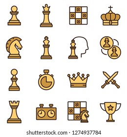 Chess icons pack. Isolated chess symbols collection. Graphic icons element
