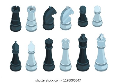 Chess isometric. Board game figures piece queen bishop strategy vector 3d pictures set isolated. Illustration of chess game, piece and bishop, pawn isometric and knight