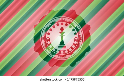 chess king icon inside christmas badge background.