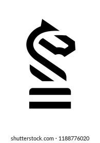 Chess Knight Horse linear logo.