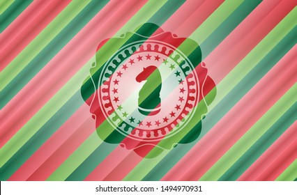 chess knight icon inside christmas style emblem.