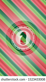 chess knight icon inside christmas colors style badge.