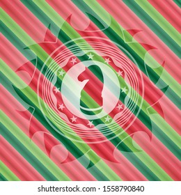 chess knight icon inside christmas colors style emblem.