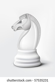 Chess Knight Isolated on White. Vector.