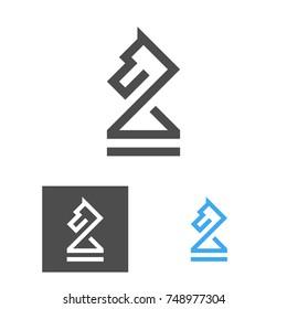 Chess Knight Logo Template. Chess Club Logotype Set. Horse. Coach Emblem. Vector