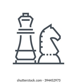 Chess knight, strategy icon suitable for info graphics, websites and print media and  interfaces. Line vector icon.