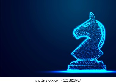 Chess Knight wireframe Polygon blue frame structure, Business strategy concept design. Abstract low poly, Triangle, dot, line, polygon. Shine blue background, Vector illustration