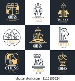 Chess logo set, design element for championship, tournament, chess club, business card, vlack and white vector Illustration