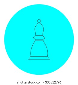 Chess officer. Black outline flat icon on blue circle. Simple vector illustration pictogram on white background