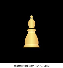 Chess officer. Gold symbol icon on black background