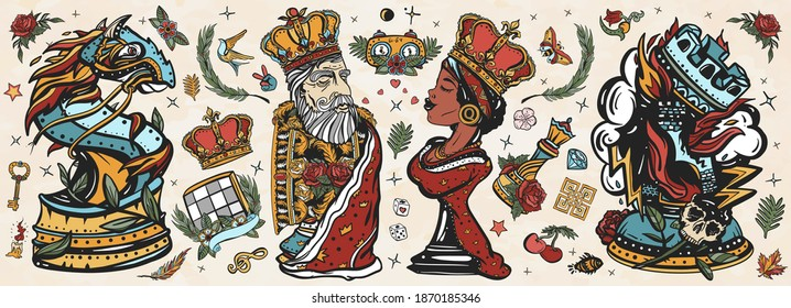 Chess old school tattoo vector collection. White king and black queen. Gambit. Pieces, board game. Fiery knight and burning rook. Cartoon figures. Checkmate concept. Traditional tattooing style