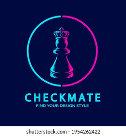 Chess Pawn Crown line pop art potrait logo colorful design with dark background. Abstract vector illustration. Isolated black background for t-shirt, poster, clothing, merch, apparel, badge design