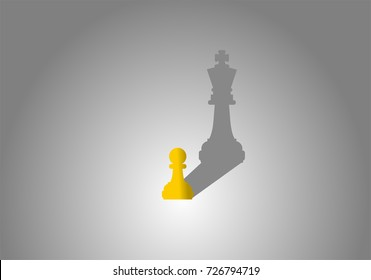 Chess pawn with king shadow. Ambitious, successful and big dream concept