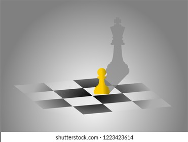 Chess pawn on checker chess board with king shadow. Ambitious, successful and big dream concept. Illustration vector