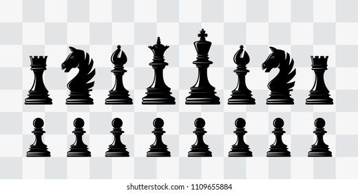Chess piece icons. Board game. Black silhouettes. Vector Illustration.