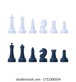Chess piece icons. Board game. Black and white silhouettes isolated on white background. Vector illustration