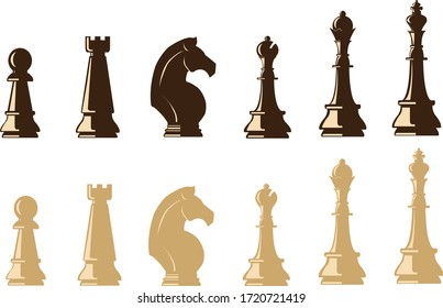 Chess piece icons. Board game. Dark brown and light brown isolated on white background. Vector illustration.