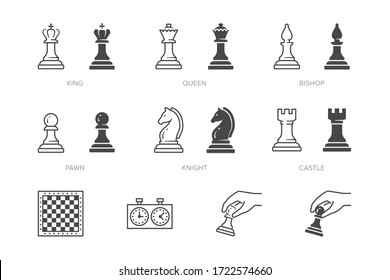 Chess piece line icon. Vector outline illustration of pawn, knight, queen, bishop, horse, rook. Checkmate board pictorgam