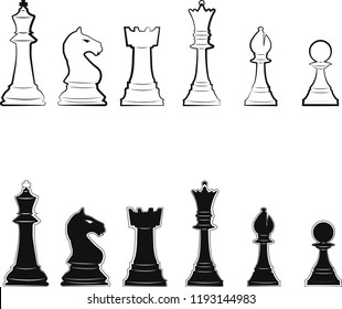 Chess Pieces Black and White