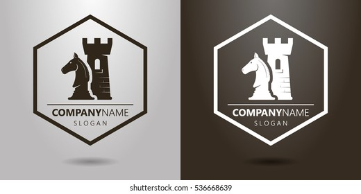 with chess pieces in black and white logo