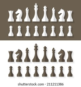 Chess pieces flat design style. Vector.