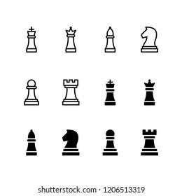 Chess Pieces Icon Logo Vector Symbol