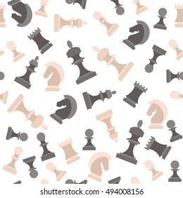 Chess Pieces Icon Set. Figures Black and White Background Pattern. Vector illustration of Flat Design Style Silhouettes of King Queen Rook Bishop Knight and pawn standart chesses.