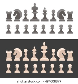 Chess Pieces Icon Set. Figures Black and White. Flat Design Style. Vector illustration.  Black and white Silhouettes of King Queen Rook Bishop Knight and pawn standart chesses.