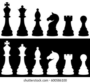 Chess Pieces Icon Set, Two Versions   White And Black. Vector Illustration.