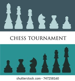 Chess pieces. Chess icons. Chess tournament poster template. Vector Illustration