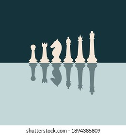 Chess pieces king queen bishop knight rook pawn flat vector icons set. Chess figures black and white.vector pieces illustration. Reflection of chess in the mirror.