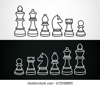 chess pieces outline vector icons